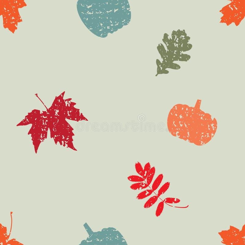 Uitstekend naadloos vectorpatroon met de herfstbladeren en pompoen vector illustratie
