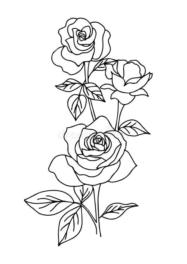 Uitstekend nam tatoegering, bloem vectorillustratie toe royalty-vrije illustratie