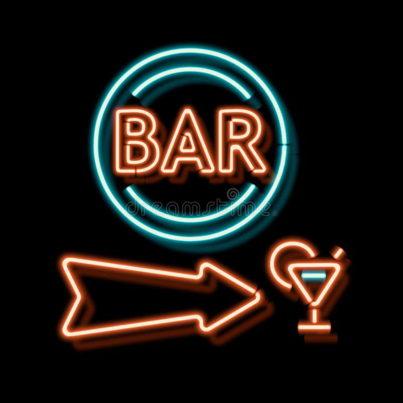 Uitstekend neonteken met een aanwijzing van de bar vector illustratie