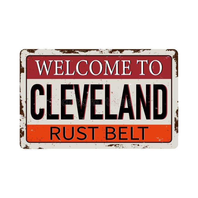 Uitstekend onthaal aan het Metaalteken van Cleveland Amerika van de roestriem - Vector stock illustratie