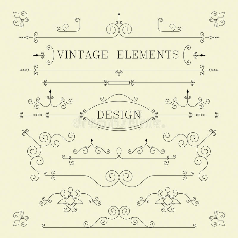 Uitstekend Ontwerp, Grenzen, Retro Elementen, Kader, stock illustratie