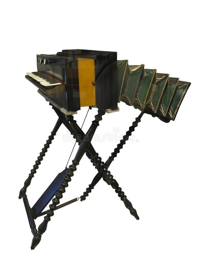 Uitstekend oud houten harmonium, een traditioneel houten toetsenbord inst stock foto