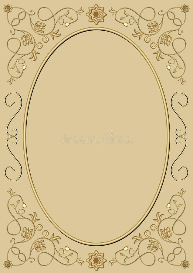 Uitstekend ovaal kader met rijke gouden patronen, in reliëf gemaakt gouden ornament op lichte gouden achtergrond, leeg gebied voo vector illustratie