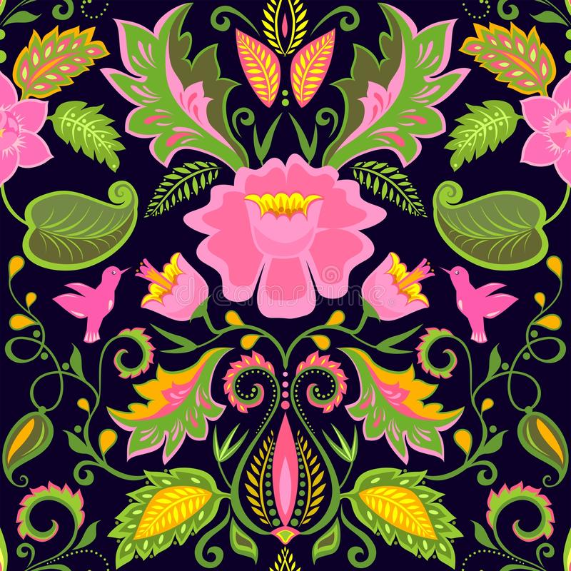 Uitstekend overladen bloemenbehang met exotische bloemen en vogels vector illustratie