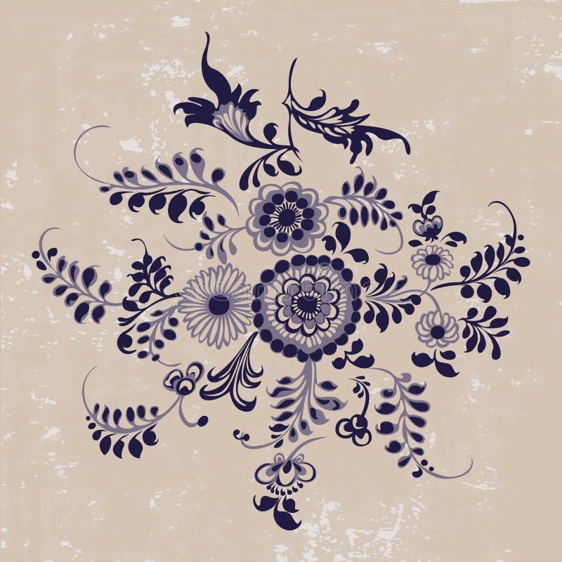 Uitstekend patroon, bloemenelementen in gzhelstijl, grunge backgr stock illustratie