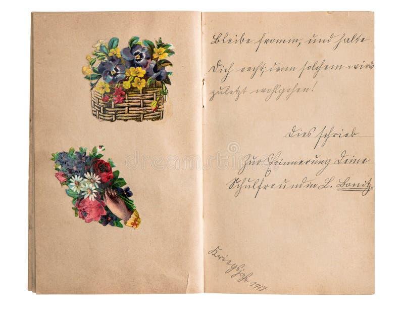 Uitstekend plakboekalbum met handschrift en beelden stock fotografie