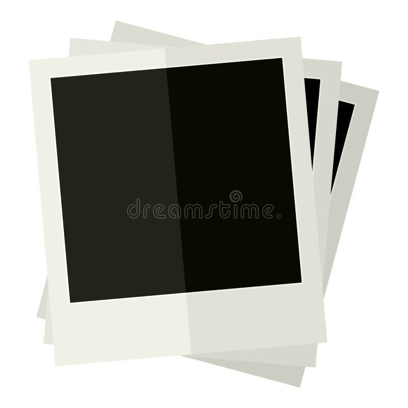 Uitstekend Polaroidcamera's Vlak die Pictogram op Wit wordt geïsoleerd vector illustratie