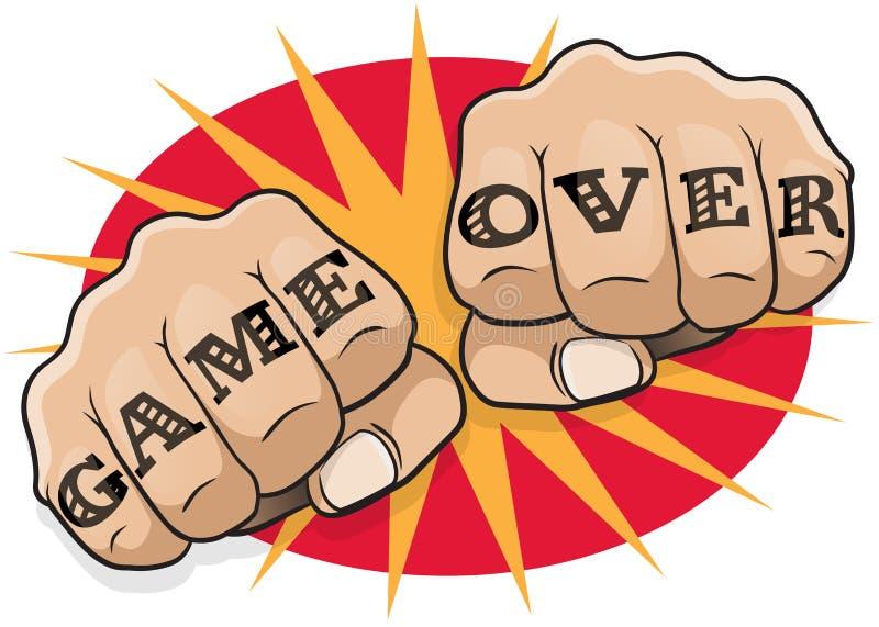 Uitstekend Pop Art Game Over Punching Fists vector illustratie