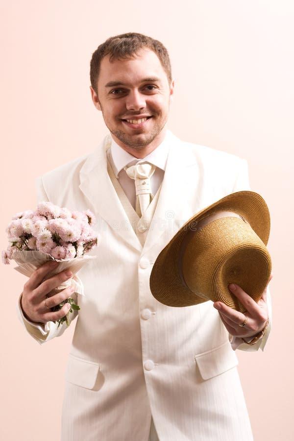 Uitstekend portret van bruidegom stock afbeelding