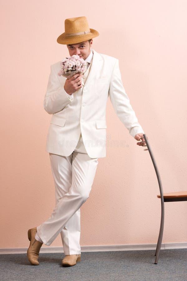 Uitstekend portret van bruidegom stock foto