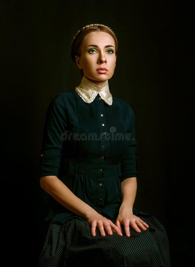 Uitstekend portret van een vrouw stock afbeelding