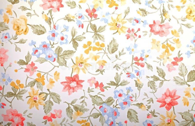 Uitstekend provancebehang met bloemenpatroon royalty-vrije stock foto