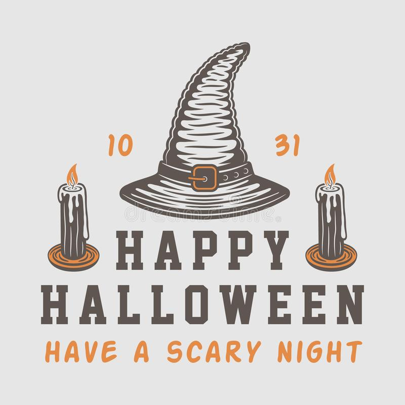 Uitstekend retro Halloween-embleem, embleem, kenteken, etiket, teken vector illustratie
