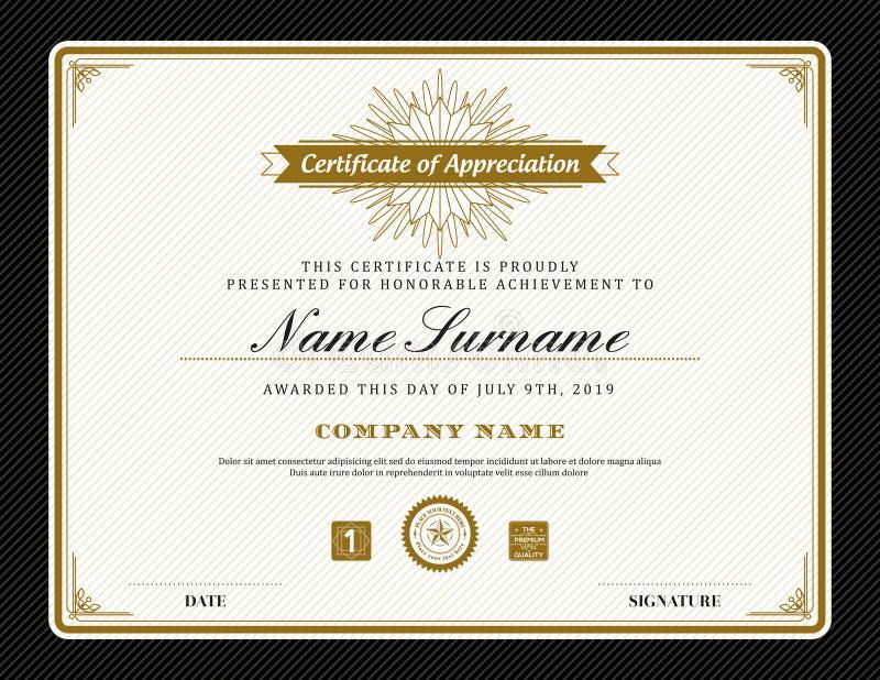 Uitstekend retro het certificaat van het art decokader malplaatje als achtergrond royalty-vrije illustratie