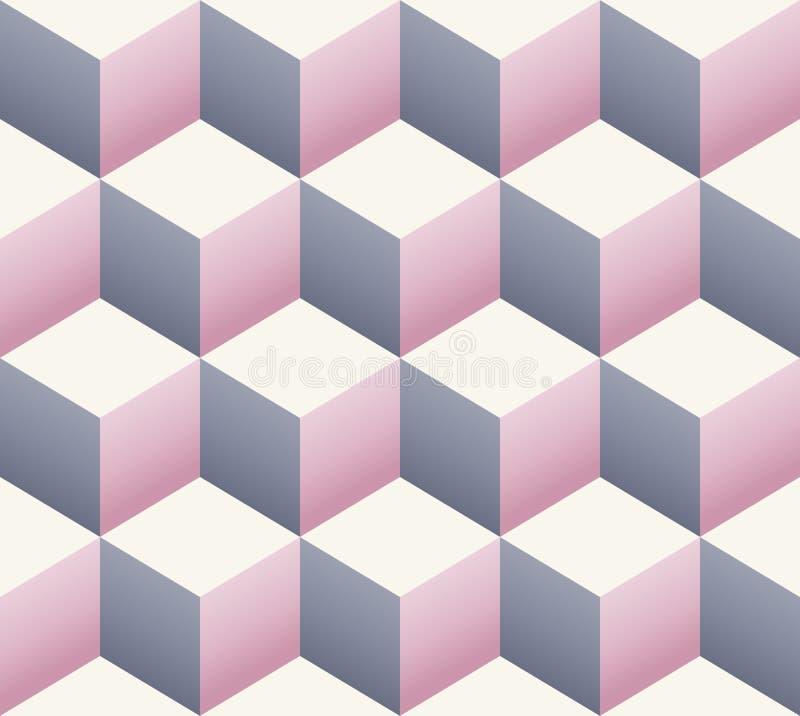 Uitstekend retro naadloos kubuspatroon stock illustratie