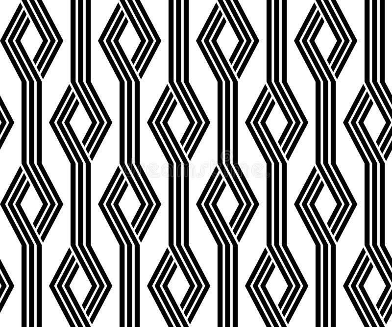 Uitstekend retro naadloos zwart-wit patroon stock illustratie