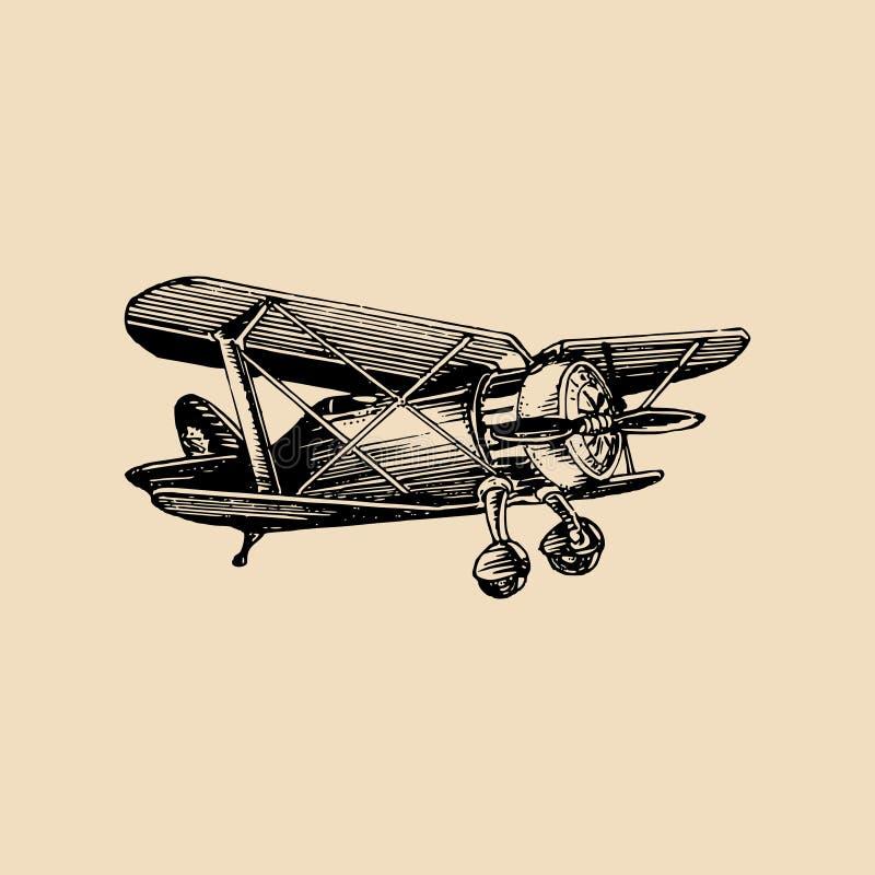 Uitstekend retro vliegtuigembleem De vectorhand schetste luchtvaartillustratie in gravurestijl voor affiche, kaart enz. vector illustratie