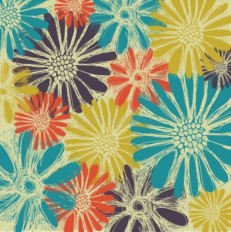 Uitstekend romantisch naadloos patroon met de zomerbloemen stock illustratie