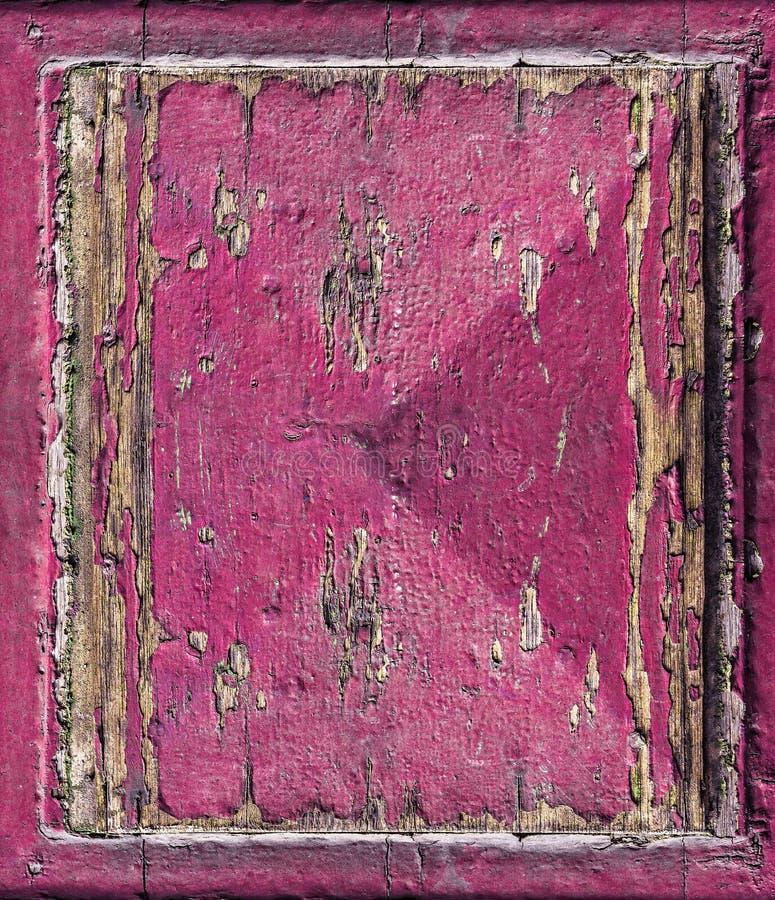Uitstekend roze geschilderd hout met barst grunge achtergrond stock foto