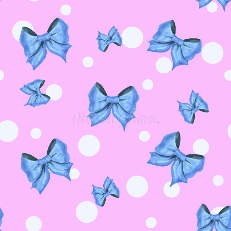 Uitstekend roze patroon met witte punten en blauwe bogen royalty-vrije illustratie
