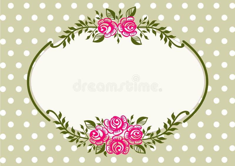 Uitstekend rozen groen frame royalty-vrije illustratie