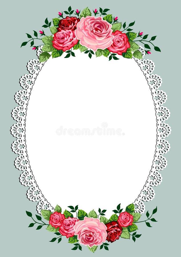 Uitstekend rozen ovaal frame vector illustratie