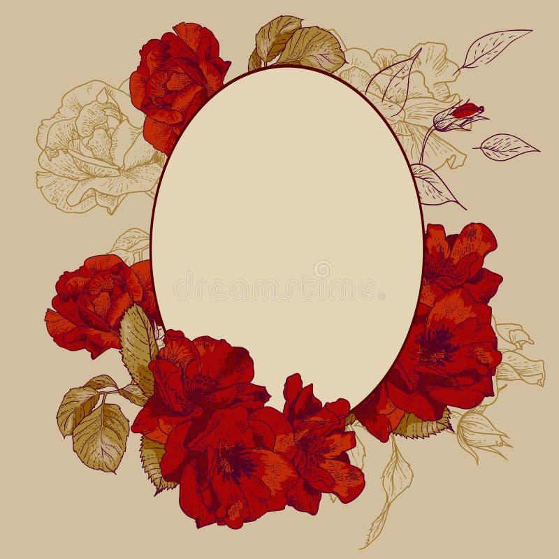 Uitstekend rozen ovaal kader vector illustratie