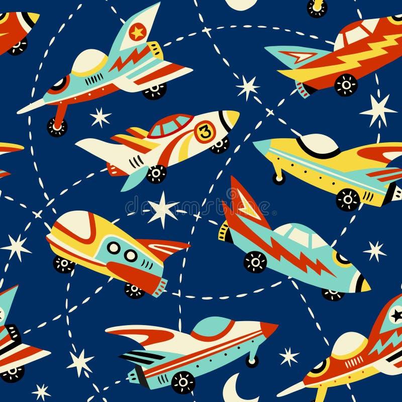 Uitstekend ruimteauto's naadloos vectorpatroon op donkerblauwe achtergrond vector illustratie
