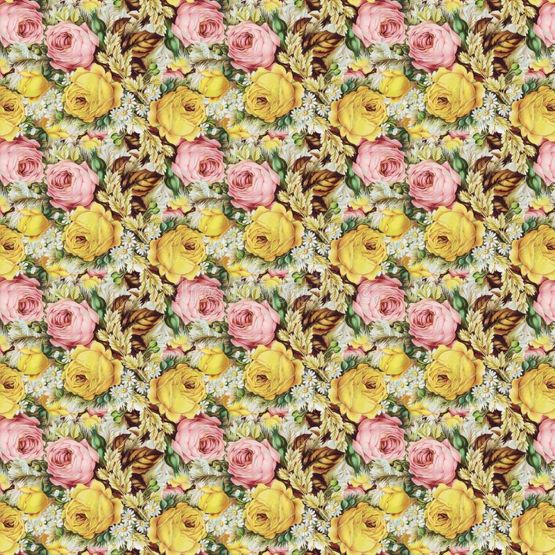 Uitstekend sjofel bloemenrozen naadloos patroon als achtergrond stock foto's