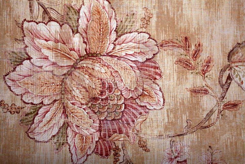 Uitstekend sjofel elegant bruin behang met bloemen victorian geklets royalty-vrije stock fotografie