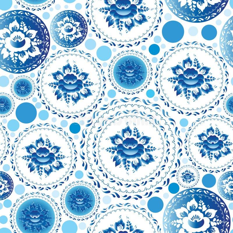 Uitstekend sjofel Elegant Naadloos patroon met blauwe bloemen en bladeren stock illustratie