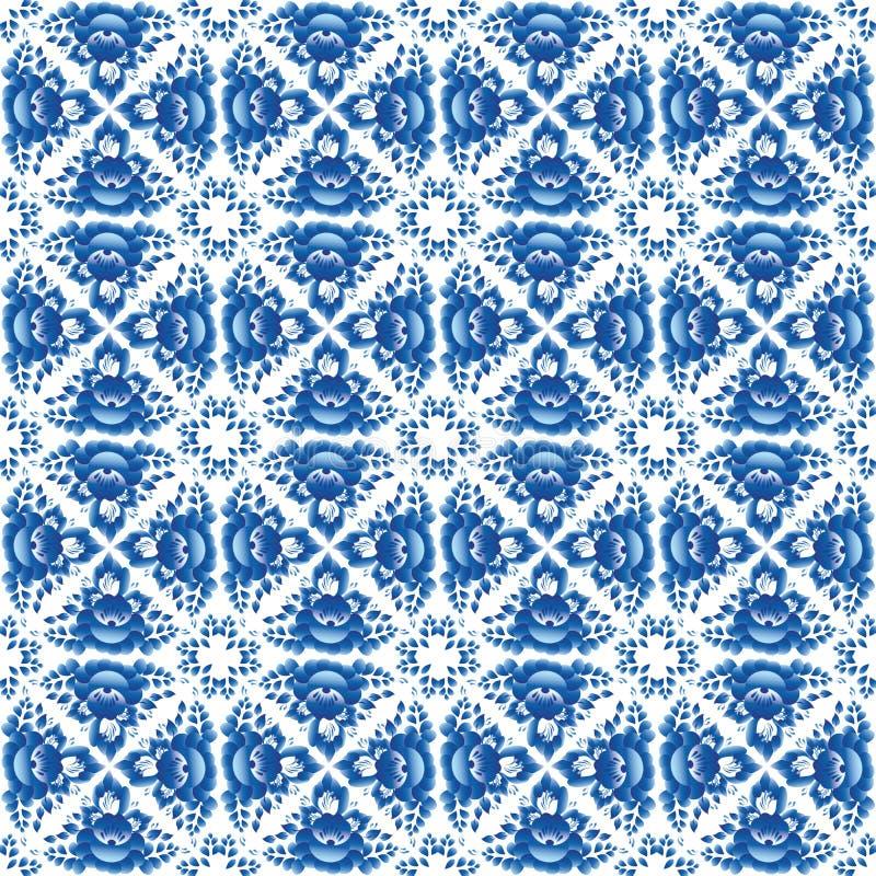 Uitstekend sjofel Elegant Naadloos patroon met blauwe bloemen en bladeren Vector vector illustratie