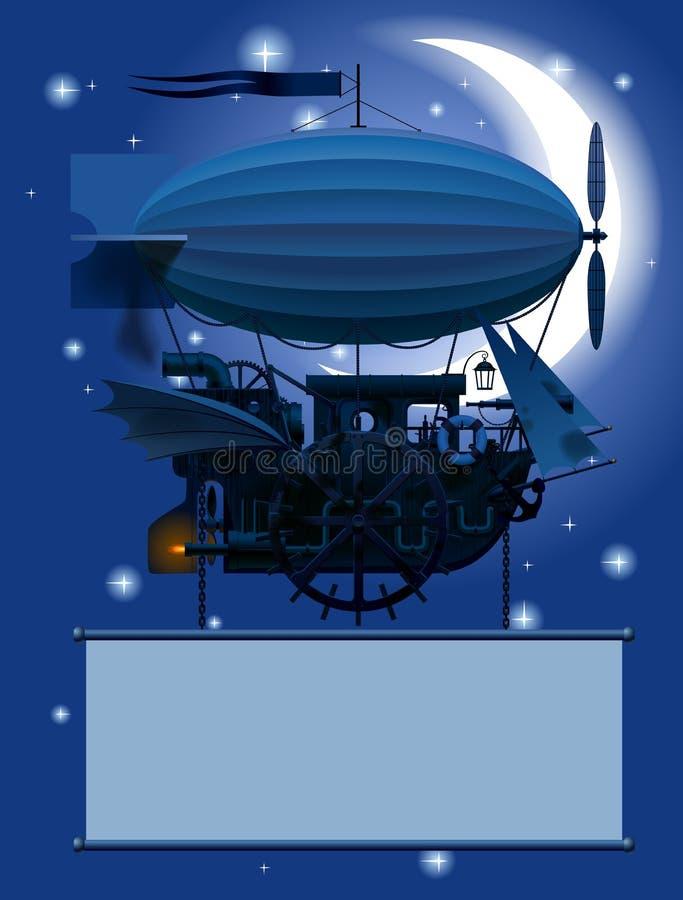 Uitstekend Steampunk-malplaatje met een fantastisch vliegend schip in nacht vector illustratie