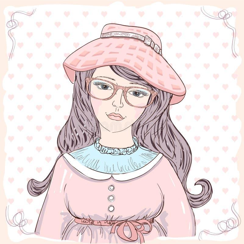 Uitstekend stijl grafisch portret van een leuke vrouw gekleed in roze hoed royalty-vrije illustratie