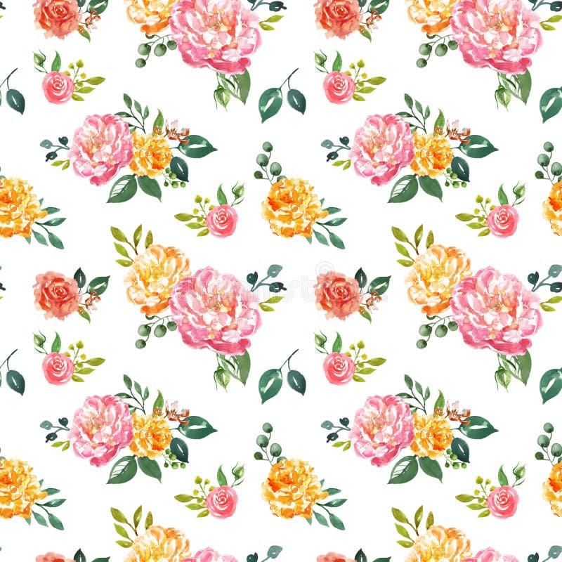 Uitstekend stijl watercolour bloemen naadloos patroon De hand schilderde roze en gele bloemen op witte achtergrond Sjofele elegan vector illustratie
