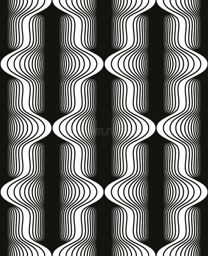 Uitstekend stijl zwart-wit naadloos patroon, geometrische vector vector illustratie