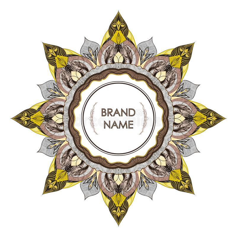 Uitstekend symmetrisch decoratief kader voor tekst Bloemen filigraan het detailleren elegante stijl van tekening stock illustratie