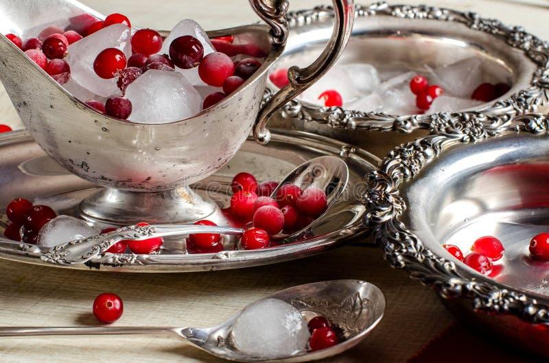 Uitstekend tafelzilver - schotels en juskommen, ijs, en rode berrie royalty-vrije stock foto