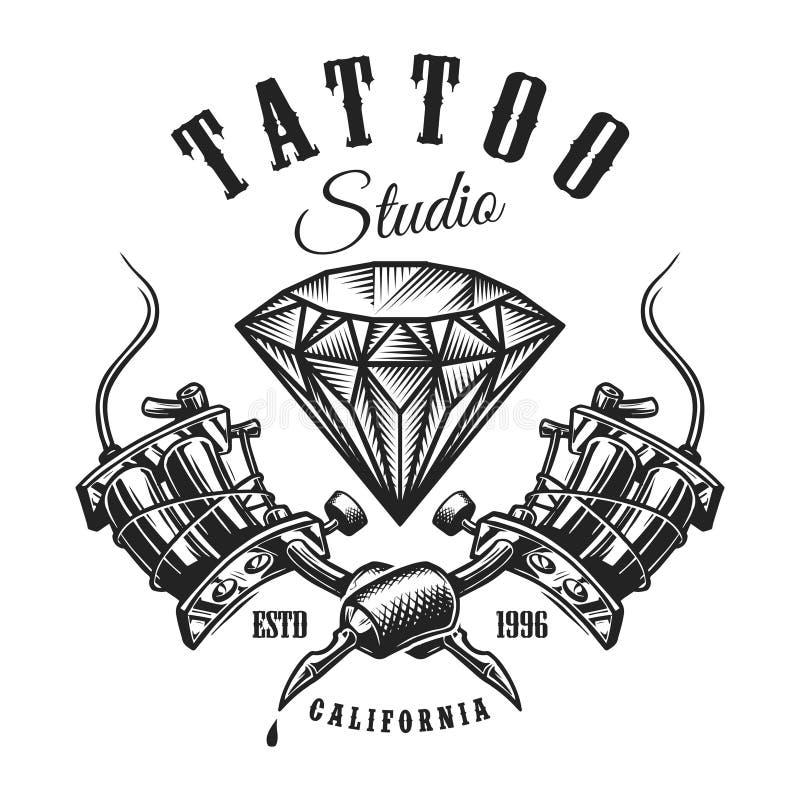 Uitstekend tatoegerings zwart-wit etiket vector illustratie
