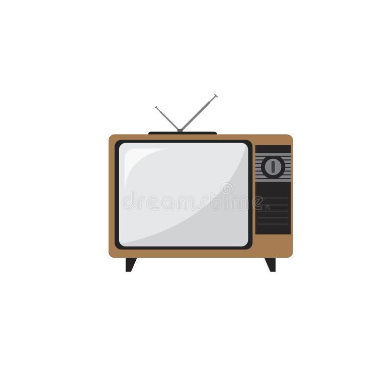 Uitstekend televisiepictogram in vlakke stijl stock foto