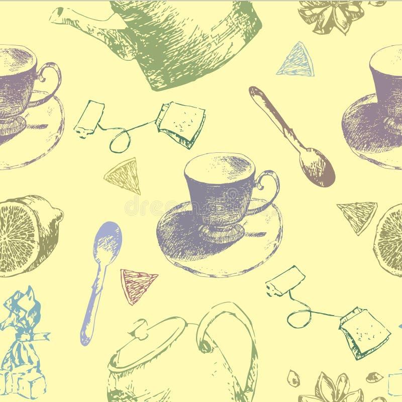 Uitstekend theeporselein Naadloos patroon Vector illustratie Achtergrond met koppen en theepotten stock illustratie