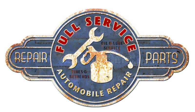Uitstekend Tin Metal Mechanics Sign royalty-vrije stock afbeeldingen