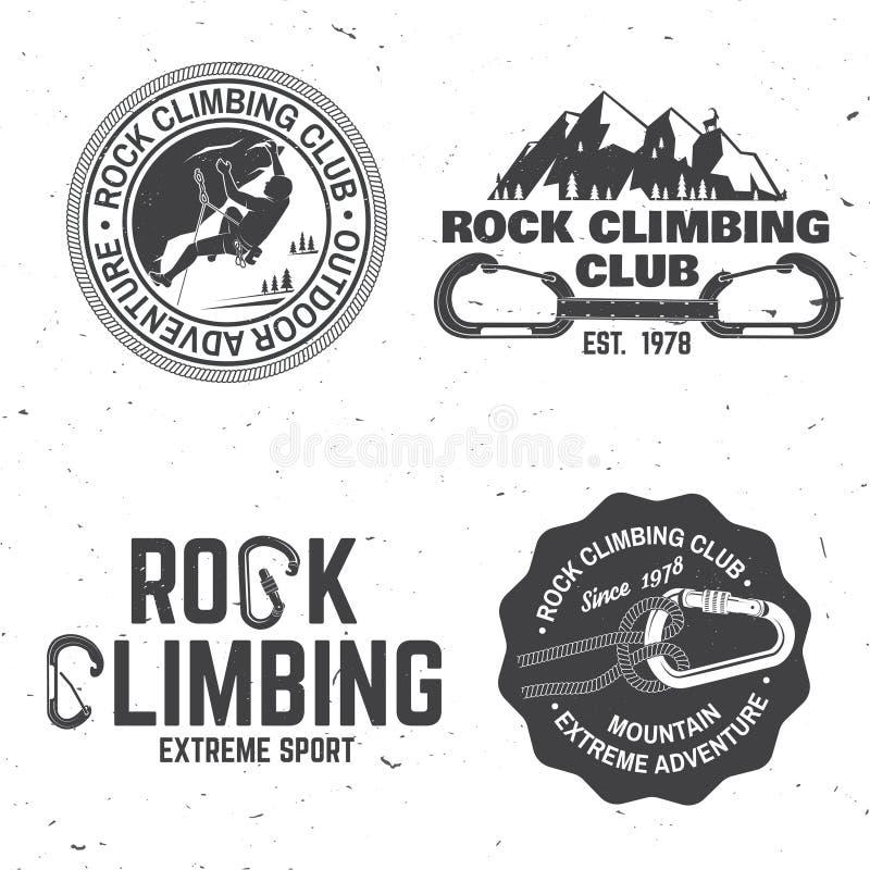 Uitstekend typografieontwerp met klimmer, carabiner en bergen royalty-vrije illustratie