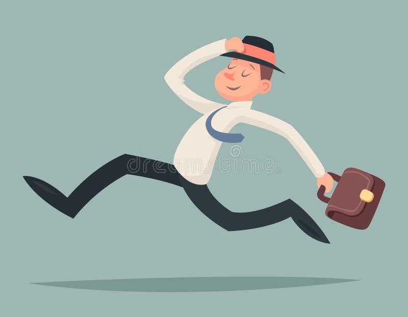 Uitstekend van de de Snelheidswinnaar van Zakenmanrunning hurry race Spoed het Karakterpictogram op Modieuze Achtergrond Retro Be vector illustratie