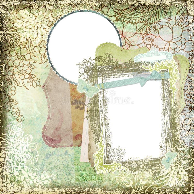 Uitstekend van de Stijl Botanisch BloemenFrame Als achtergrond 2 vector illustratie