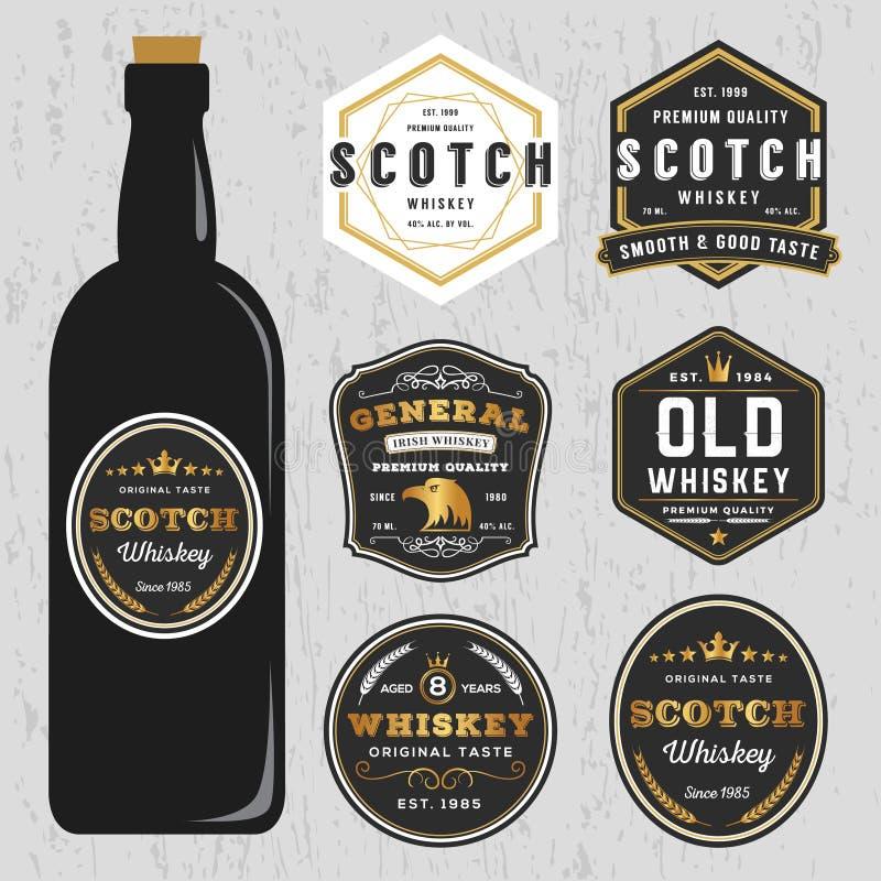 Uitstekend van het de Merkenetiket van de Premiewhisky het Ontwerpmalplaatje vector illustratie
