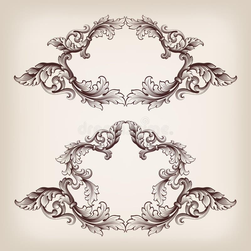 Uitstekend vastgesteld grenskader die barokke vector graveren stock illustratie