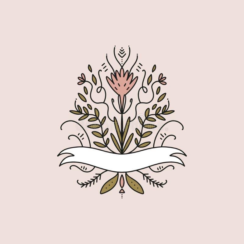 Uitstekend vectorkader, bloemenelementen Embleemmalplaatje, huwelijksmonogrammen, uitnodigingen en etiket Goed voor koffie of bou royalty-vrije illustratie
