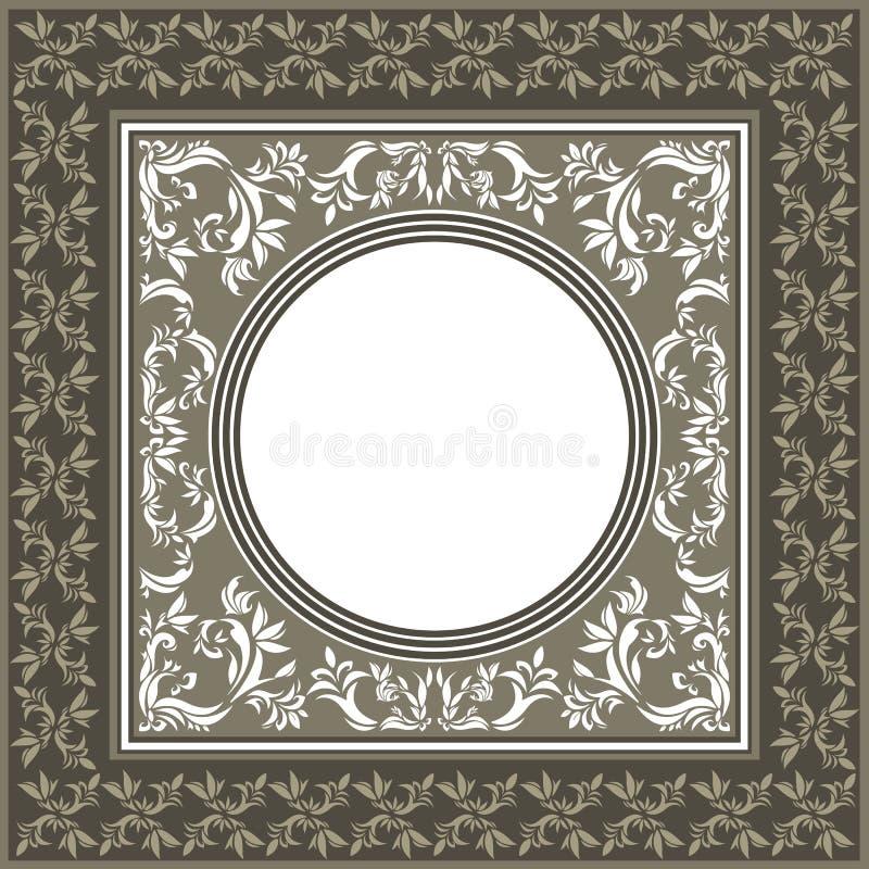 Uitstekend vectorkader met pastelkleuren en decoratieve bloemengr royalty-vrije illustratie