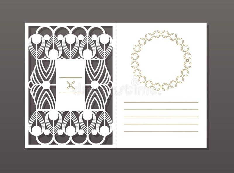Uitstekend vectorpatroon voor laserknipsel Luxueus patroon Kaart en uitnodigingsontwerp Plaats voor uw tekst decoratie stock illustratie